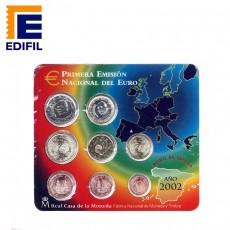 Carteras EuroSet España 2002. Serie completa de 8 monedas de euros 2002
