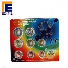 Carteras EuroSet España 2003. Serie completa de 8 monedas de euros 2003. (Tipo I con código de barras)