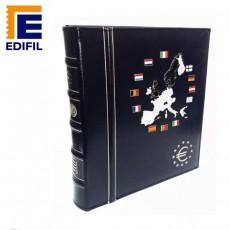 Cubierta con funda (6 hojas para monedas de 12 países más más 6 hojas con el valor de la moneda, banderas y años)