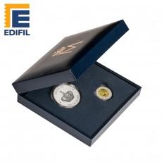 """Estuche """"Proof"""" Medalla Proclamación Felipe VI y Moneda 2 euros proof."""