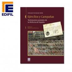 Tapas encuadernación. Ejércitos y Campañas. Testimonios postales de la Historia de España. Tomo I