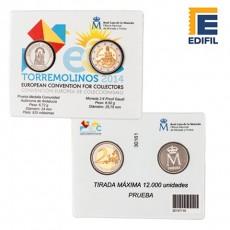 Convención europea de coleccionismo. Moneda 2 € Proof Gaudí + prueba medalla Comunidad Autónoma de Andalucía