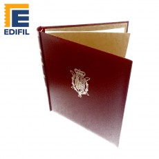 """Cubierta """"Semilujo"""" Escudo Real con funda y título """"España"""""""